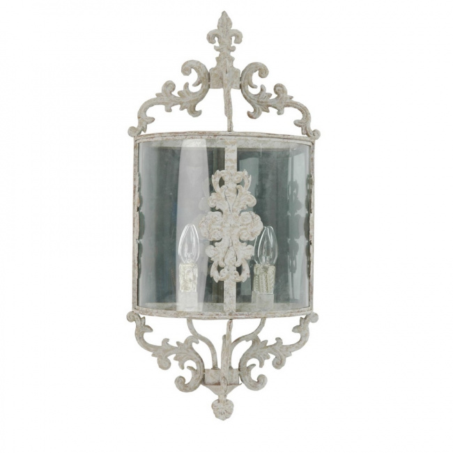 Imposante Wandlampe Shabby Chic White Antique (40544N)