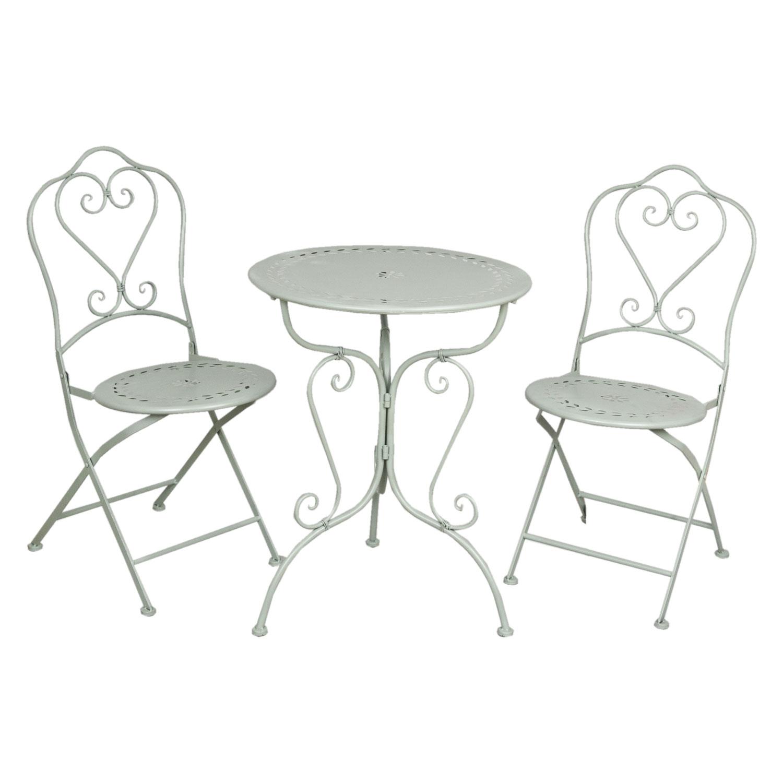 Gartenmobel Hohe Qualitat : Gartenmöbel SET im Landhausstil Tisch + 2 Stühle grün 5Y0129  Deko