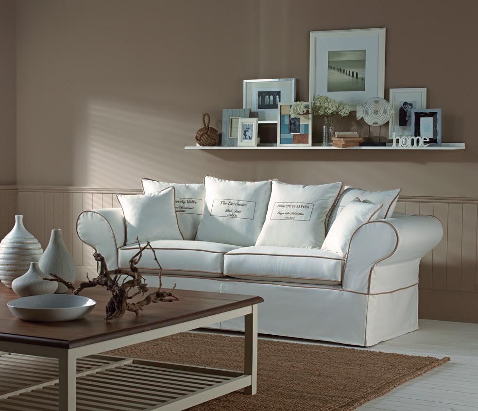 Landhaus Sofa Ascot creme Hussensofa  Deko-Salon Online Shop