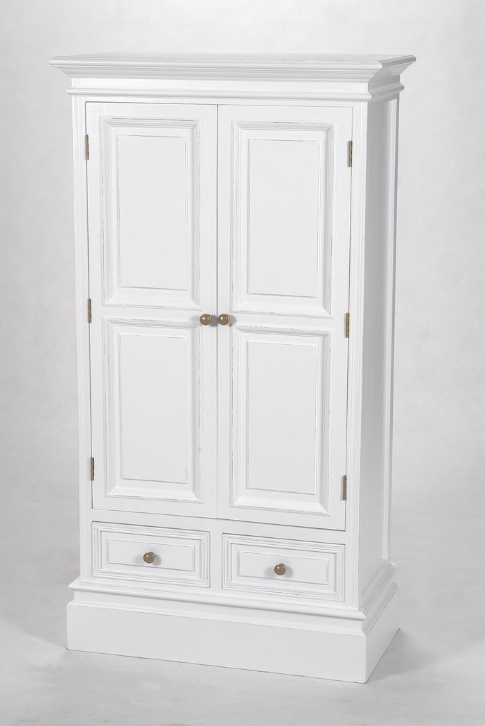 Schrank weiß landhaus  Zierlicher Kleiderschrank weiss 127x69x35 cm | Deko-Salon Online Shop