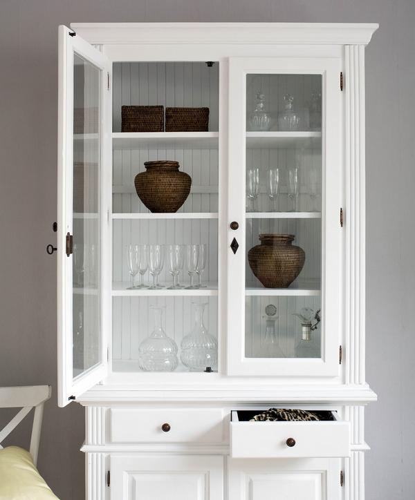 landhaus schrank mit aufsatz vitrine pinie wei art 557. Black Bedroom Furniture Sets. Home Design Ideas