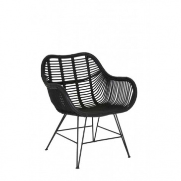 Rattan Stuhl MALANG (2er Set) Schwarz 64x72x87cm Light & Living